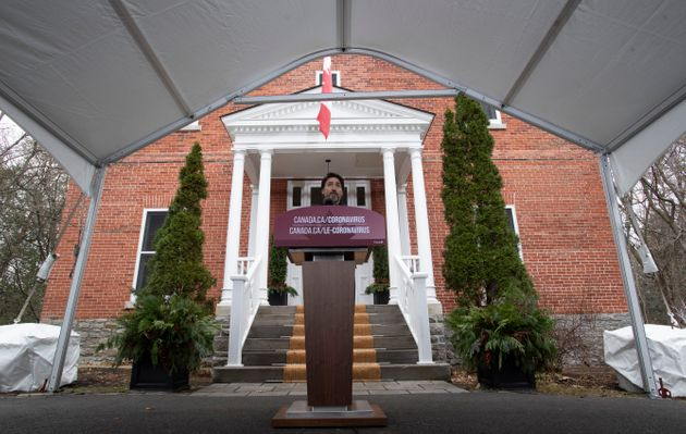 Prime Minister Justin Trudeau speaks during a news conference outside Rideau Cottage in Ottawa on