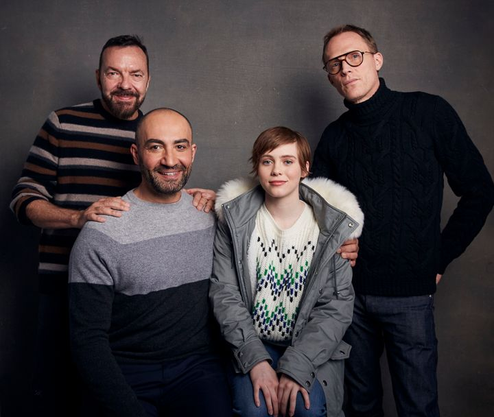 """Ball (rear left) with """"Uncle Frank"""" stars Peter Macdissi, Sophia Lillis and Paul Bettany."""