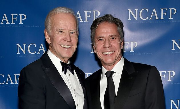 Joe Biden et Antony Blinken en octobre 2017 lors d'un dîner de Gala à New York. (Photo by...