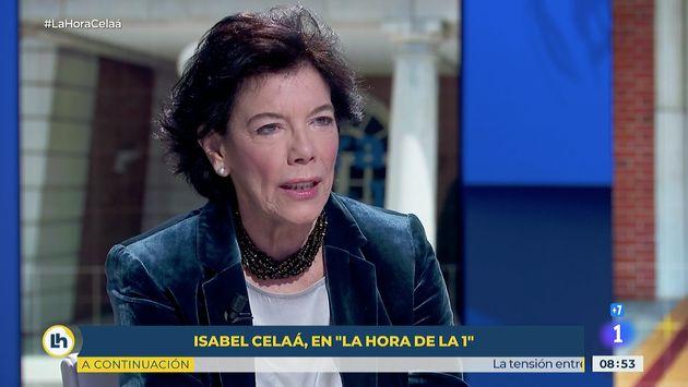 La ministra de Educación, Isabel Celaá, este lunes en 'La Hora de la