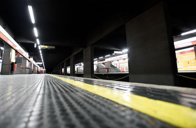 A general view of an empty Palestro metro station after the Italian government imposed a virtual lockdown...