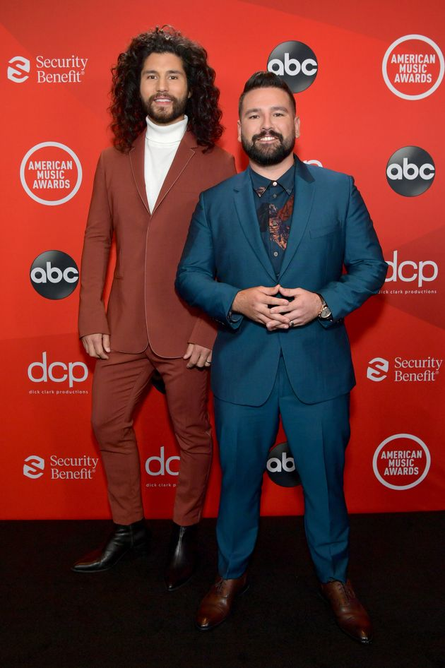 Dan Smyers and Shay Mooney of the country duo Dan + Shay attend the 2020 American Music Awards at the...