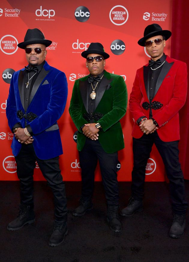 Ricky Bell, Michael Bivins and Ronnie DeVoe of the R&B group Bell Biv DeVoe attend the 2020 American...