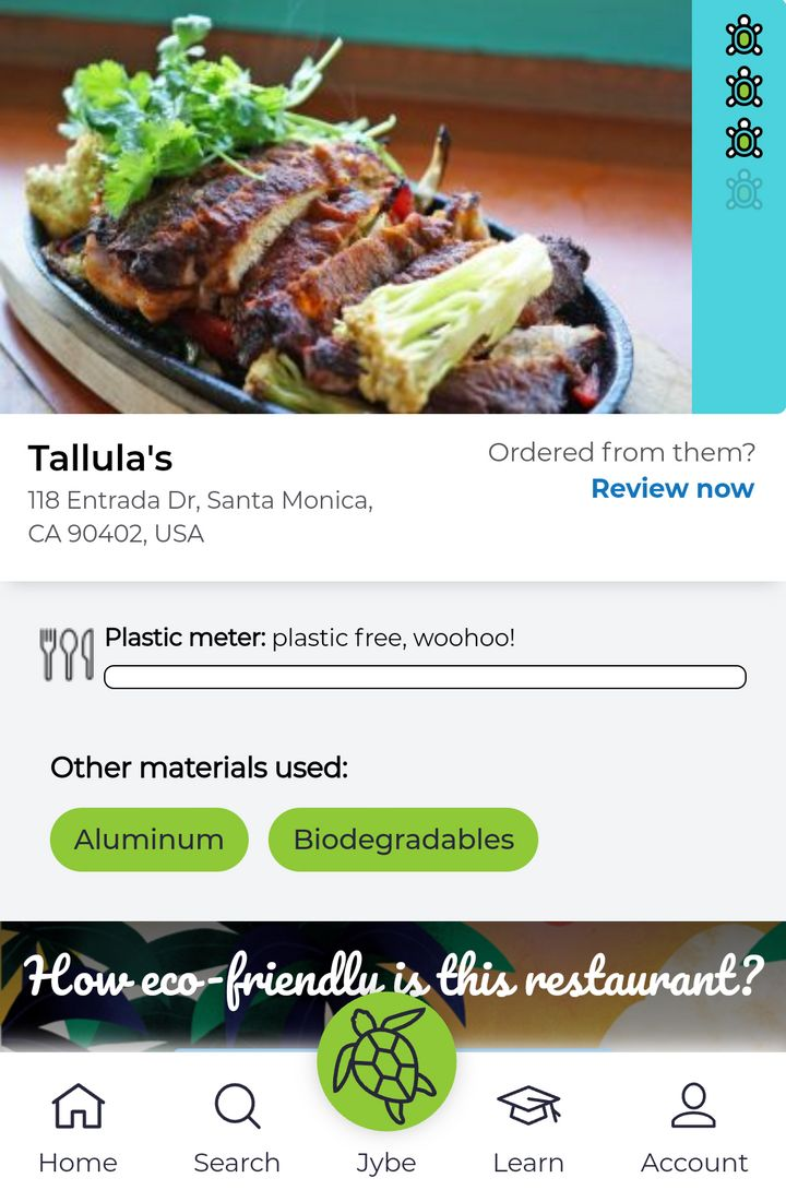 The JYBE web app features restaurants that use sustainable packaging for their takeout and delivery orders.