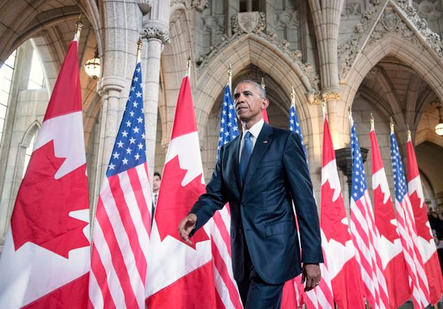 Barack Obama leaves Parliament Hill after addressing the Canadian Parliament in the House of Commons...