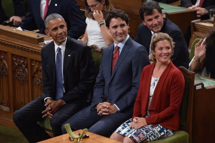 Barack Obama, Prime Minister Justin Trudeau and Sophie Gregoire Trudeau are shown in the House of Commons on June 29, 2016.