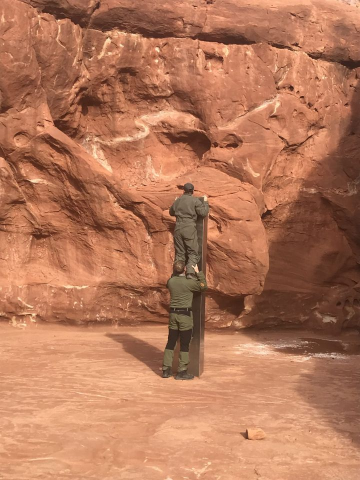 The monolith was discovered while officers were counting bighorn sheep from a helicopter.