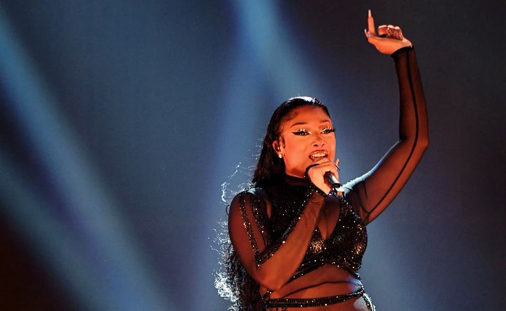 Megan Thee Stallion performs onstage for the 2020 American Music Awards.