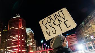 Betsy Camardo, who supports Democratic presidential nominee and former Vice President Joe Biden, holds a sign outside the central counting board where ballots in the general election are counted in the city at the TCF Center in Detroit, Wednesday, Nov. 4, 2020. (AP Photo/David Goldman)