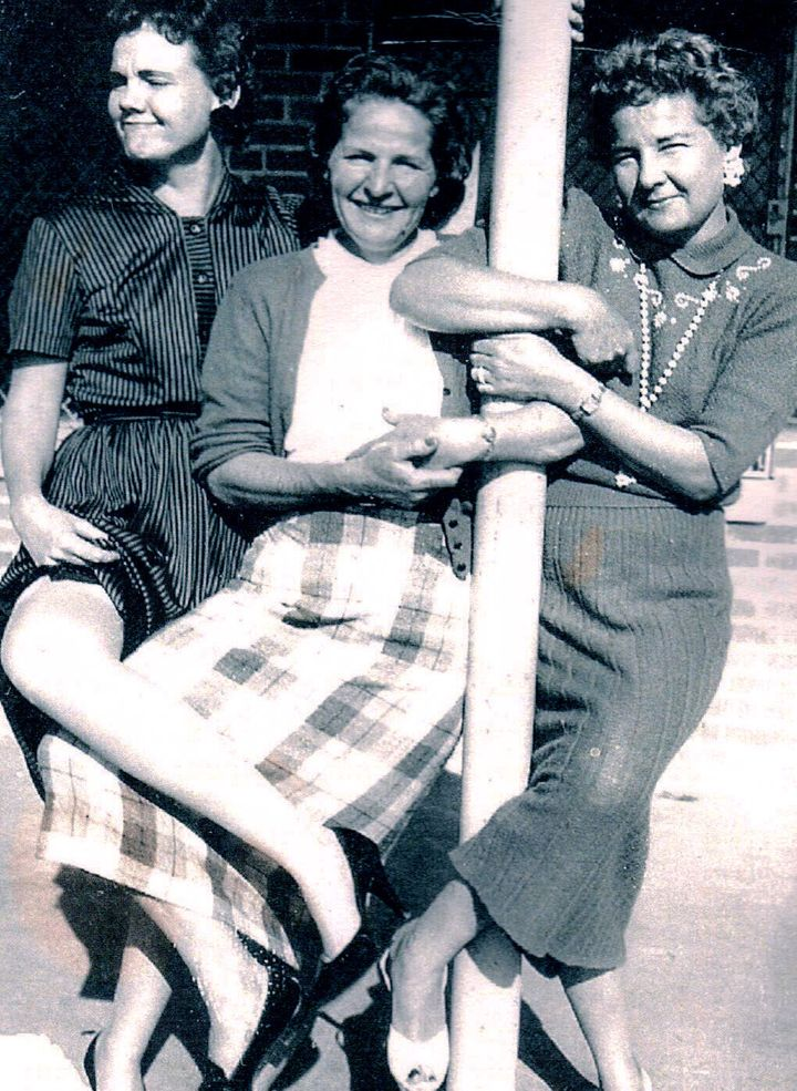 Millie and her sisters, Dorothy (left), Bobbie (middle) and Millie, circa mid-1950s.