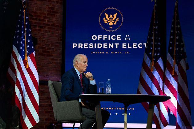 조 바이든 미국 대통령 당선인이 미국시장협의회(USCM) 화상회의를 하고 있다. 2020년