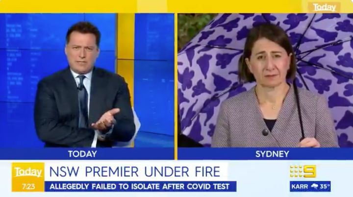 'Today' show host Karl Stefanovic grilled NSW Premier Gladys Berejiklian on Tuesday after she took a COVID-19 test last week but didn't self-isolate till her results arrived.