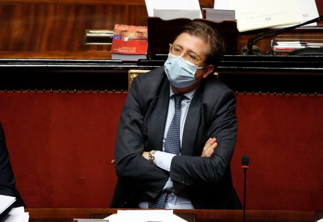 Deputy Minister of Health Pierpaolo Sileri during the briefing in the Senate Chamber of Premier Giuseppe...