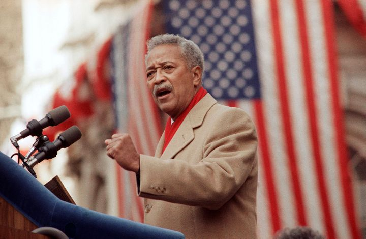 David Dinkins delivers his first speech as mayor of New York, onJan. 2, 1990.