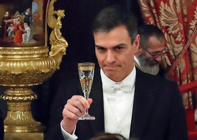 Pedro Sánchez, durante una cena de gala en el Palacio Real el 28 de noviembre de