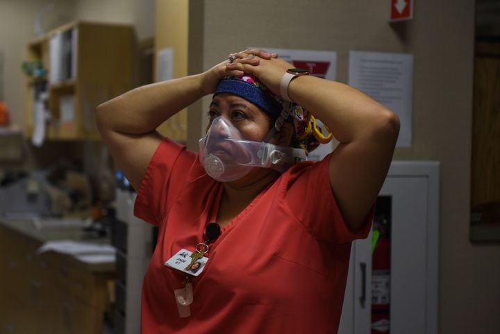 Jade Carabajal-Richter worries about a lack of beds for patients with COVID-19 as case numbers surge at a hospital in Lakin,