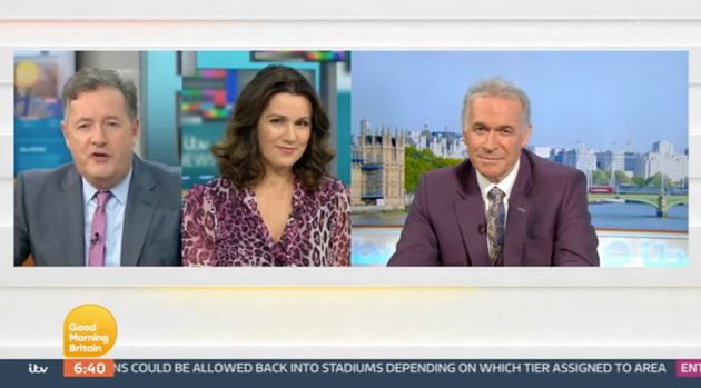 Piers speaking to Susanna Reid and Dr Hilary Jones on Good Morning