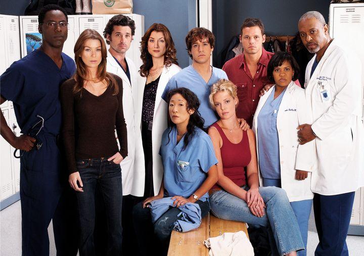 "The original cast of ""Grey's Anatomy."" Standing: Isaiah Washington, Ellen Pompeo, Patrick Dempsey, Kate Walsh, T.R. Knight, J"