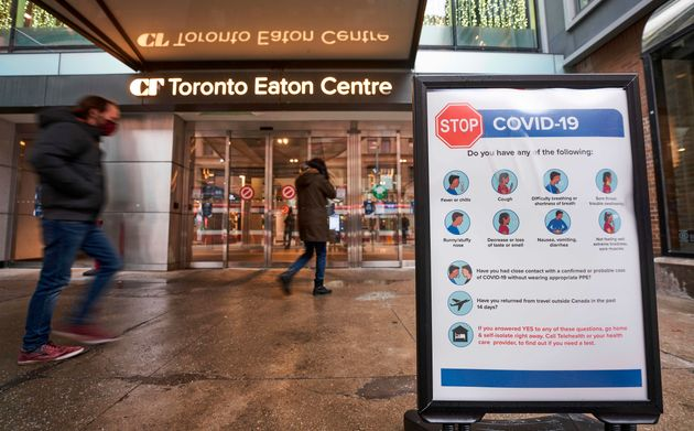 The entrance to the Toronto Eaton Centre in downtown Toronto, Nov. 23, 2020. Canada's latest lockdowns...