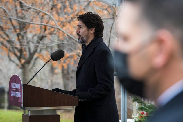 Prime Minister Justin Trudeau speaks during a pandemic briefing from Rideau Cottage in Ottawa on Nov....