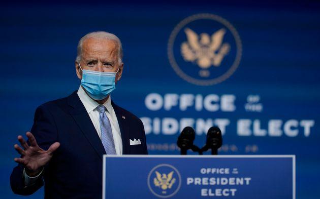 조 바이든 미국 대통령 당선인이 외교안보팀을 소개하는 기자회견을 열었다. 윌밍턴, 델라웨어주. 2020년