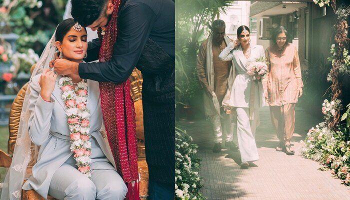 결혼식에서 웨딩슈트 입은 인도 여성