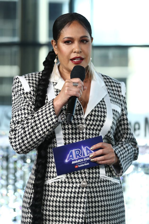 Christine Anu speaks during the Pre-Show ahead of the 2020 ARIA Awards at The Star on November 25, 2020...
