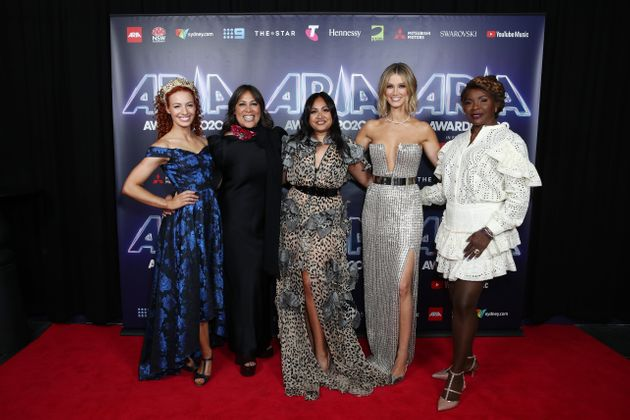 Emma Watkins, Kate Ceberano, Jessica Mauboy, Delta Goodrem and Marcia Hines attends the 2020 ARIA Awards...