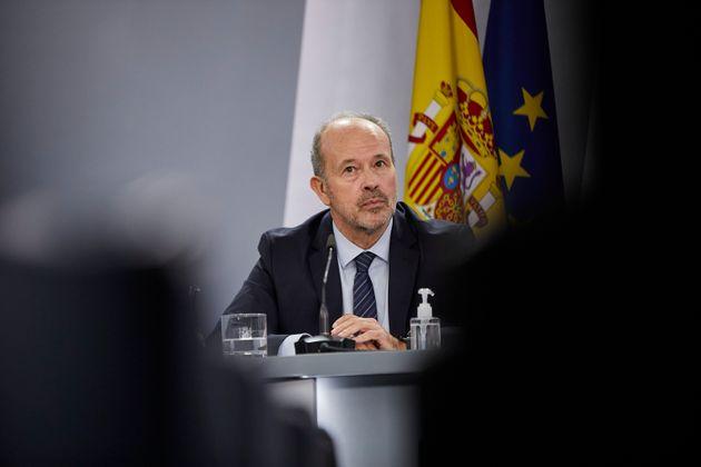 El ministro de Justicia, Juan Carlos Campo, ayer tras el Consejo de Ministros, en La