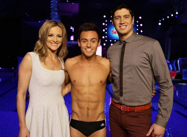 Vernon Kay with Gabby Logan and Tom Daley on the set of