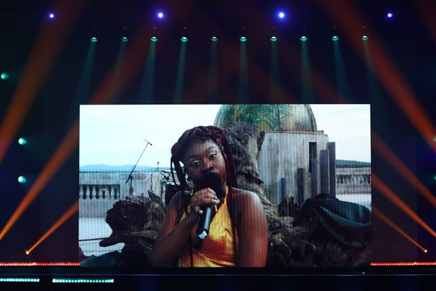 Sampa the Great performs via video link in Botswana, at the 2020 ARIA Awards at The Star on November...