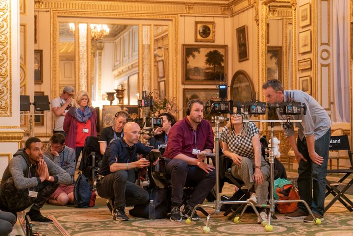 Bridgerton's crew filming in one of the elaborate sets