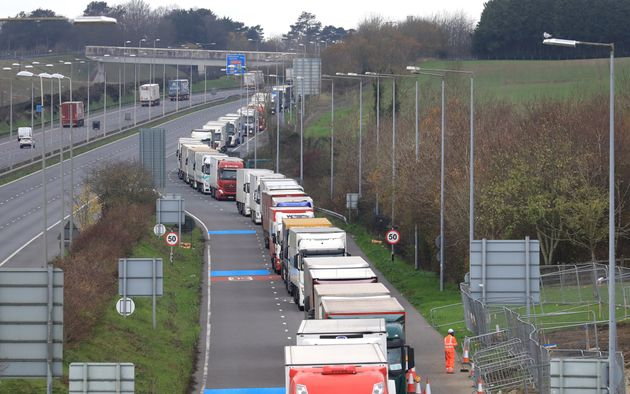 Freight lorries queueing along the M20 in Kent waiting to access the Eurotunnel terminal in