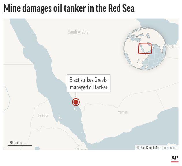 Locator map shows the approximate location of the mine blast that damaged the MT Agrari, a Maltese-flagged, Greek-managed oil tanker near Shuqaiq, Saudi Arabia.