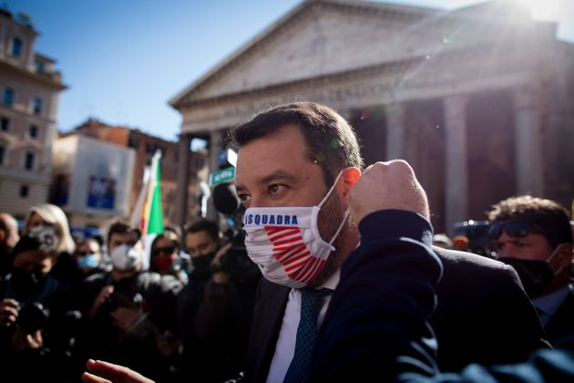 Head of the far-right Lega party and Italian senator Matteo Salvini (C) is seen during a protest of restaurants...