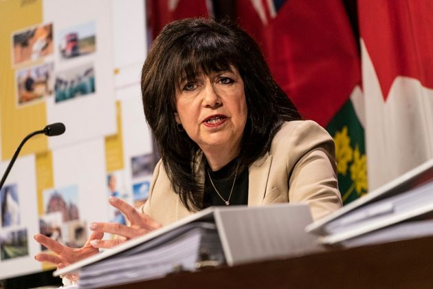 Ontario Auditor General Bonnie Lysyk speaks during a 2019 press conference at Queens