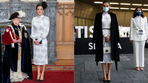 A la izquierda, la reina Letizia en junio de 2019 durante la investidura de Felipe VI como caballero...