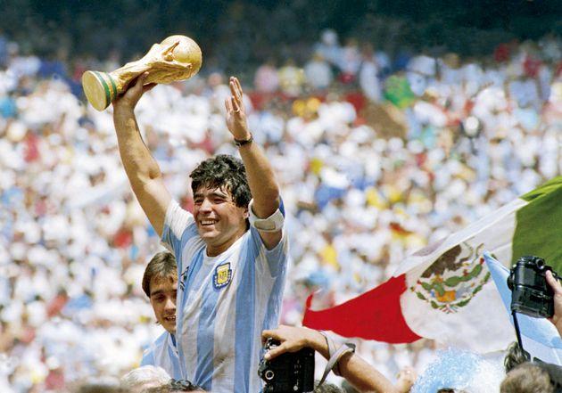 Diego Armando Maradona, ici photographié lors de la victoire de l'Argentine en finale de la Coupe...