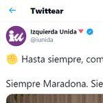 Revuelo por la foto con la que Izquierda Unida ha despedido a Maradona en