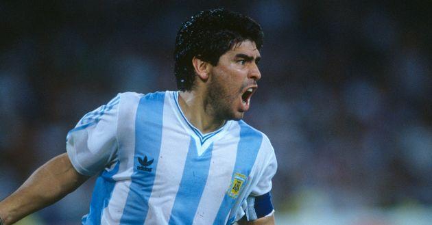 Diego Maradona (Argentina) celebrates victory over Italy during the semi-finals of the 1990 FIFA World...