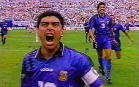 Maradona, en el partido Argentina contra Nigeria en 1994.