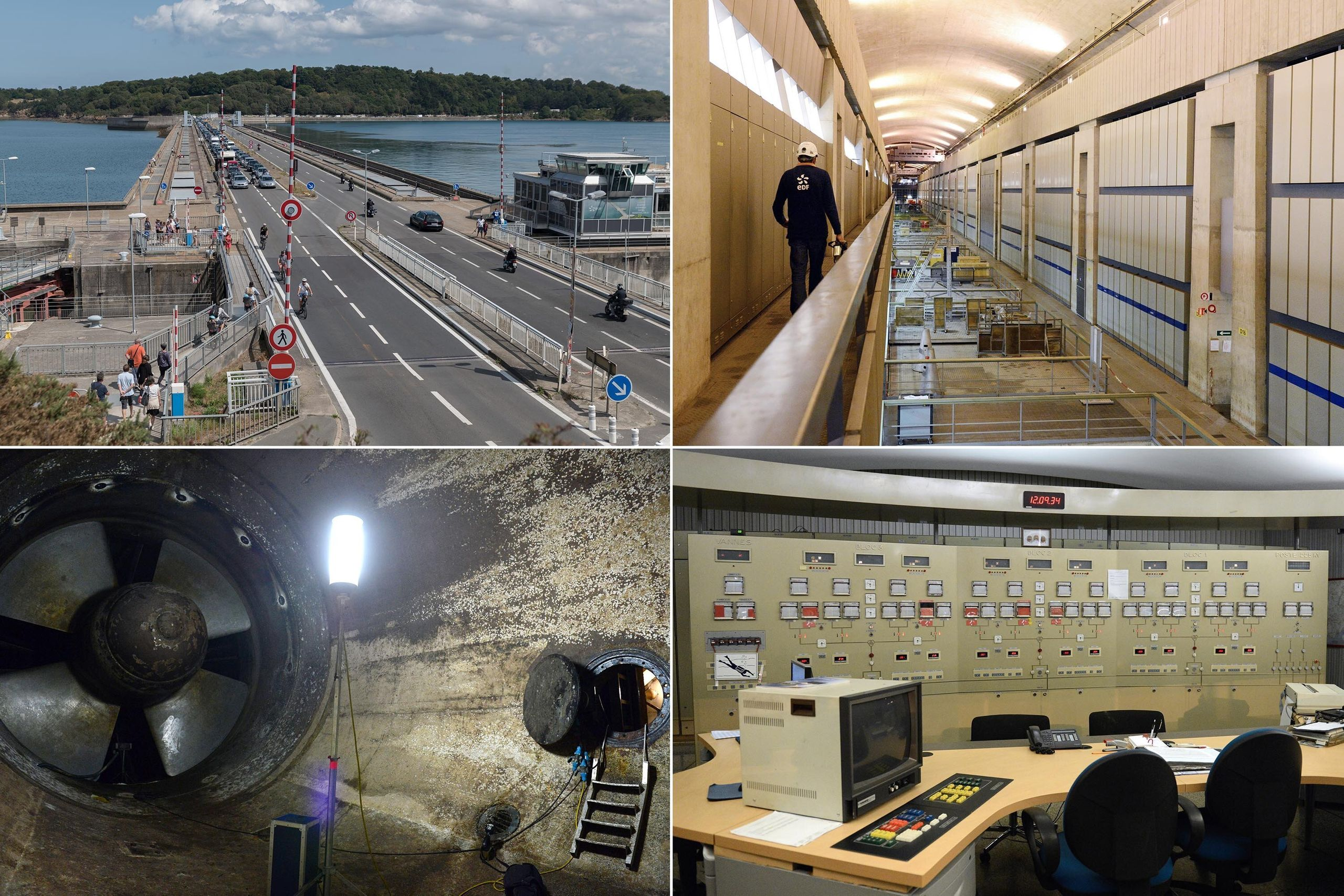 Top left: View of the hydroelectric dam of Rance Brittany, France, in 2019. This hydroelectric plant with tidal energy built