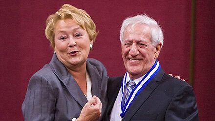 Pauline Marois et Marc-André Bédard à la cérémonie de remise des insignes de l'Ordre national du Québec...
