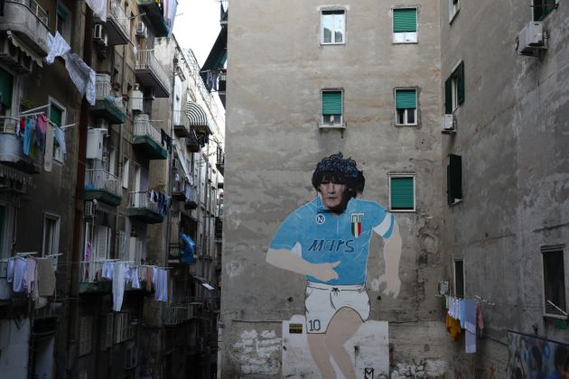 NAPLES, ITALY - FEBRUARY 25: Street art showing ex Napoli player Diego Maradona in the city of Naples...