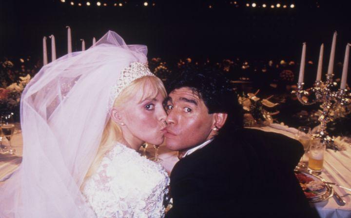 Diego Armando Maradona con la que fue su mujer,Claudia Villafañe.