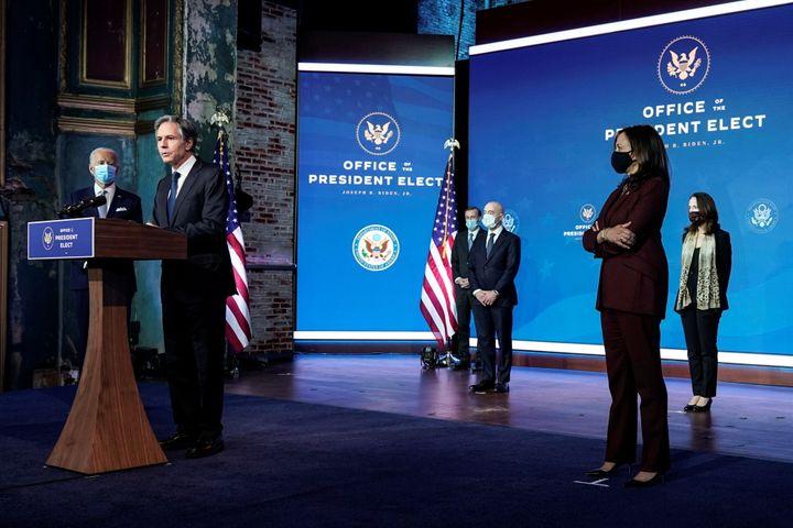 Antony Blinken, President-elect Joe Biden's choice for secretary of state, speaks as Biden, Vice President-elect Kamala Harri