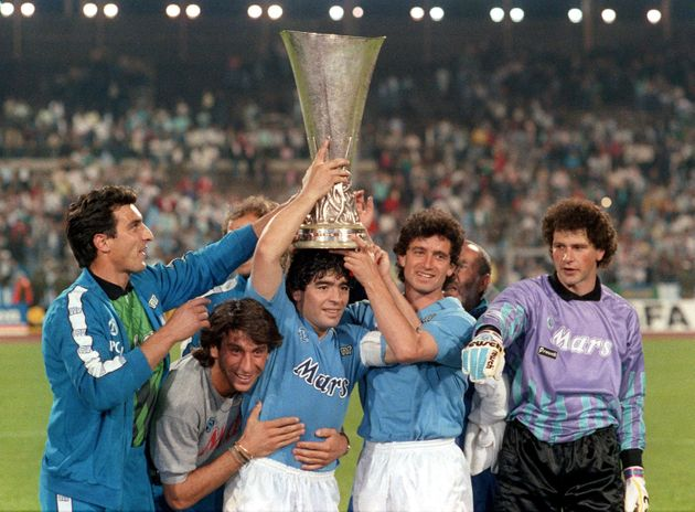 Raffaele Di Fusco,Massimo Crippa, Diego Armando Maradona, Francesco Romano and Giuliano Giuliani of SSC...
