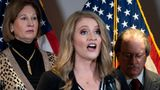 Members of President Donald Trump's legal team, including Sidney Powell, left, and Jenna Ellis, center, speak during a news conference at the Republican National Committee headquarters, Thursday Nov. 19, 2020, in Washington. (AP Photo/Jacquelyn Martin)