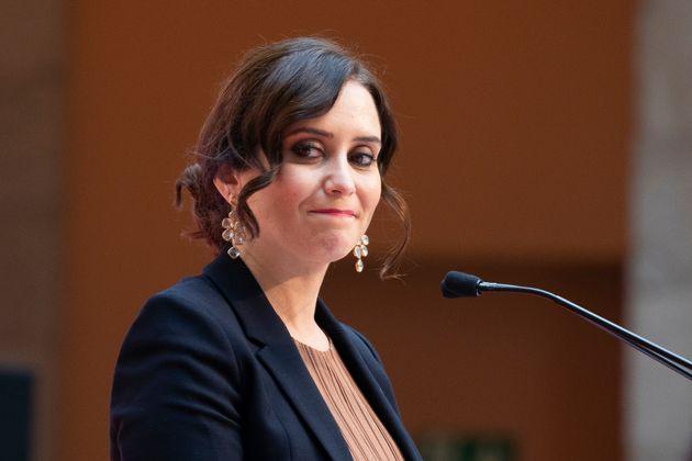Isabel Díaz Ayuso, en un acto el 25 de noviembre de 2020 en la Puerta del Sol (Oscar Gonzalez/NurPhoto...