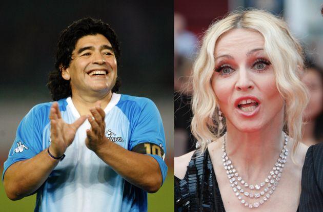 Le célèbre joueur de foot Diego lors d'un match opposant la Géorgie à l'Argentine en 2008 Maradona et...